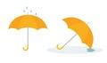 Open yellow umbrella on white background.