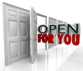 Open for you door opening words always inviting welcome the emerging from an to illustrate and and policy an office store or Stock Photography