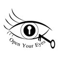 Open your eyes illustration with key Stock Photography