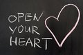 Open your heart concept drawn on chalkboard Stock Photos