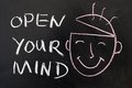 Open your mind concept chalk drawing on the blackboard Royalty Free Stock Photos