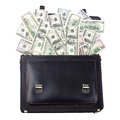 Opened black leather briefcase with dollars isolated on white ba Royalty Free Stock Photo