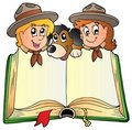 Opened book with two scouts and dog Royalty Free Stock Photo