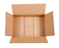 Opened cardboard box. Isolated over white Royalty Free Stock Photo