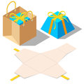 Opened and closed present gift boxes with ribbon bow Royalty Free Stock Photo