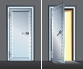 Opened and Closed Vault Steel Door. Vector
