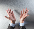 Opened corporate or politician man hands showing transparency or openness