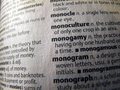 Opened dictionary monogamy word closed up photo of in english Royalty Free Stock Photography