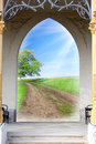 Opened door to early morning in green garden conceptual image environmental business metaphor success concept blue sky with tree Royalty Free Stock Photos
