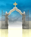 Opened entrance to paradise sky illustration Royalty Free Stock Images