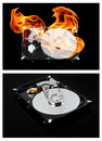 Opened external hard drive on fire. Hard disk Royalty Free Stock Photo