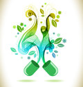 Opened green color pill with abstract wave Royalty Free Stock Photo