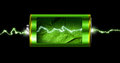 Opened green energy battery power spark cell isolated Royalty Free Stock Photo