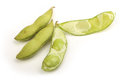 Opened green soy bean isolated on white background Royalty Free Stock Photo