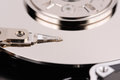 Opened hard disk drive close up macro view Stock Images