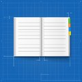 Opened notebook stylized drawing symbol like blueprint Stock Images