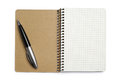 Opened notepad and pen on white background Royalty Free Stock Image