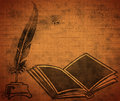 Opened old book quill grunge background Royalty Free Stock Photos