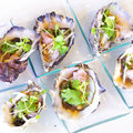 Opened oyster food on dish Royalty Free Stock Photo