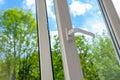 Opened plastic vinyl window Royalty Free Stock Photo