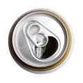 Opened puede de la cerveza. Visión superior Fotos de archivo libres de regalías