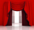Opened red curtain with white background illustration Stock Photos