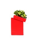 Opened red gift box with green golden bow white background Stock Photography