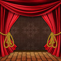 Opened red stage curtains Stock Image
