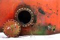 Opened rusty manhole Royalty Free Stock Photo