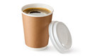 Opened take-out coffee in cardboard cup Royalty Free Stock Photo
