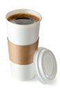 Opened take-out coffee with cup holder Royalty Free Stock Photo