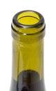 Opened wine bottleneck closeup on white background Stock Image