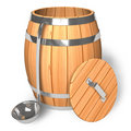 Opened wooden barrel with scoop Stock Photography