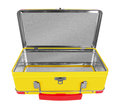 Opened yellow metal suitcase isolated on white background Royalty Free Stock Photography