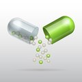 Opening Medical green capsule Royalty Free Stock Photo