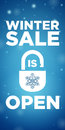 Opening winter sale and lock with snowflake on blue background Royalty Free Stock Photos