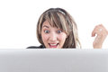 Openmouthed happy girl looking at laptop screen Royalty Free Stock Photo