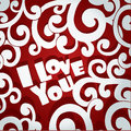 Openwork applique Valentine card Stock Image