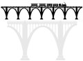 Openwork arch concrete bridge with a steam locomotive. Transport infrastructure. Transportation of passengers.