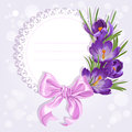 Openwork card with wreath of yellow and purple crocuses just print sign Royalty Free Stock Photography