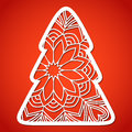 Openwork Christmas tree. Laser Cutting template. Royalty Free Stock Photo
