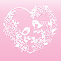 Openwork heart with flowers and birds. Laser cutting template.
