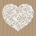Openwork heart with flowers. Vector decorative element. Royalty Free Stock Photo