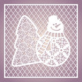 Openwork square card with cute snowman and Christmas tree. Laser Royalty Free Stock Photo