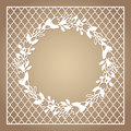 Openwork square frame with wreath of flowers. Laser cutting template