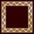 Openwork square golden frame with celtic motif.