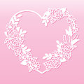 Openwork wreath of flowers in the shape of a heart. Laser cutting template.