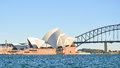 Opera and harbour bridge landmarks of sydney australia Stock Photos