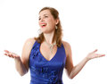 Opera singer beautiful in a blue dress on a white background Royalty Free Stock Photo
