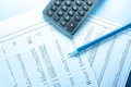 Operating budget, calculator and pencil Royalty Free Stock Photo